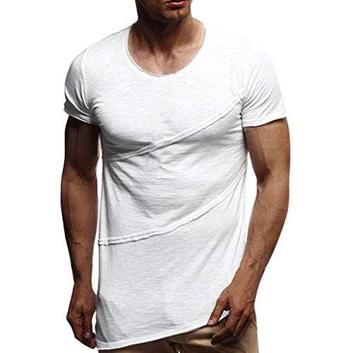 Pengy Mens Top Muscle Summer Patchwork Solid T-Shirt Man Short Sleeve O-Neck Tee White