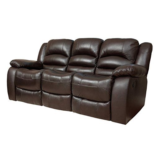 Abbyson Dallas Italian Leather Reclining Sofa, Brown