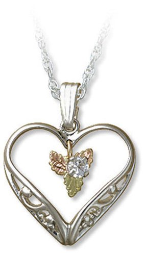 Landstroms Black Hills Silver Heart Necklace with Synthetic White Sapphire, 18