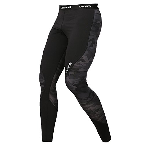 DRSKIN Compression Sports Tights Pants Baselayer Running Leggings Rashguard Men (L, Twin - Running Clothes Men