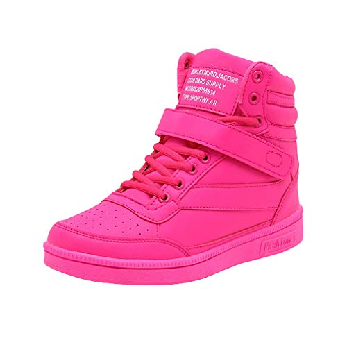 High top Casual Rosa Traspirante Rotonda Stringate Donna Da Zeppa Corsa Tinta Con Unita 40 Sportive Sneakers 35 Scarpe Velcro Testa Slittata 77wdrqpR