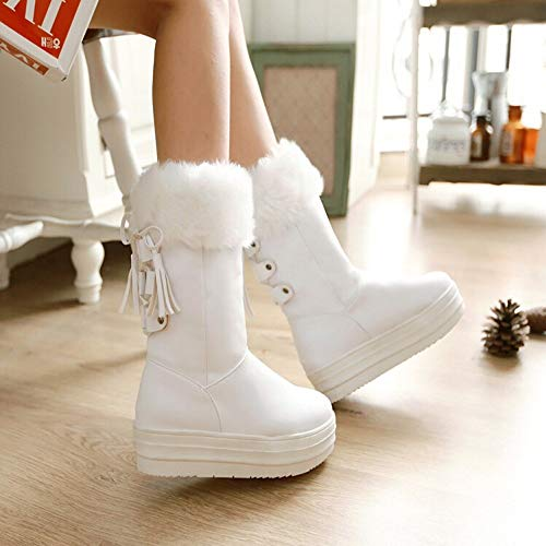 size Snow Middle Boots Fringe Platform Shoes uk Flat Beige Warm 4 Winter Women's Black Boots Heel Transer zwqvOxEP