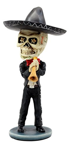 Ebros Day Of The Dead Skeleton Wedding Mariachi Trumpet Player Bobblehead Figurine Traditional Folklore Mexican Musician Sculpture