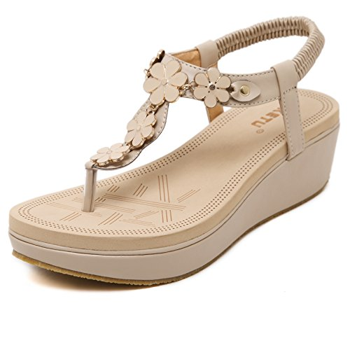 Womens Wedge Sandals Thong Platform Beaded Slingback Bohemia Summer Sandal, Apricot 02, US 7 (EU 38). - Ladies Wedge Sandal