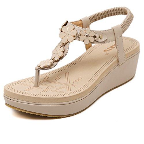 (Meeshine Womens Wedge Sandals Thong Platform Beaded Slingback Bohemia Summer Sandal New Apricot 6)