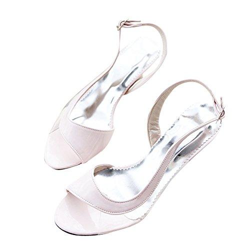 Charme Voet Mode Dames Pump Lage Hak Open Teen Sandalen Schoenen Roze
