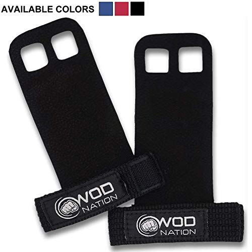 WOD Nation Leather Barbell Gymnastics Grips Perfect for Pull-up Training, Kettlebells, Gymnastic Rings (Black - Medium) ()