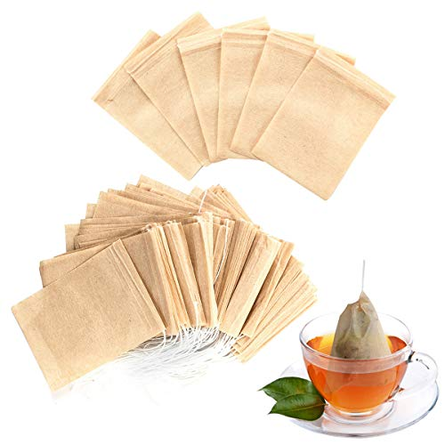 300PCS Tea Filter Bags Disposable Paper Tea Infuser with Drawstring for Loose Leaf Tea and Coffee with Natural Unbleached Paper (Big Size) by Geila