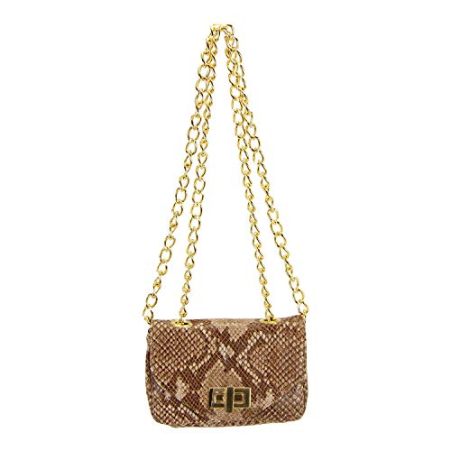 - Pietro Alessandro Python Leather Crossbody Clutch Mini Handbag and Chain Straps