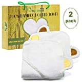Deluxe 2-Pcs 100% Organic Bamboo Baby Hooded Towel W/ Ears Set By Baby Bamboo –Extremely Soft & Ultra Absorbent Bath Towels For Infants & Newborns –One-Size-Fits-All For 0-3 Years Old