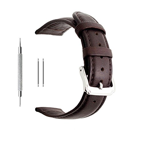 Fossil Leather Strap - Berfine 22mm Brown Calf Leather Watch Band Replacement,Extra Soft Watch Strap for Men Women