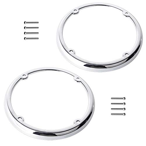(NTHREEAUTO Motorcycle Chrome Speaker Trim Decorate Tour Pak Speaker Trim Rings Compatible with Harley Davidson Touring FLT FLHT FLHTCU FLHRC Road King Street Electra Glide (1)