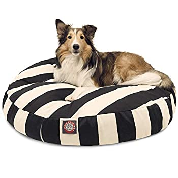 Image of Black Vertical Stripe Medium Round Indoor Outdoor Pet Dog Bed With Removable Washable Cover By Majestic Pet Products Pet Supplies