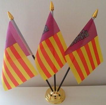 Flag Co Mallorca España 3 Bandera Española Mesa de sobremesa con Base Dorada: Amazon.es: Hogar
