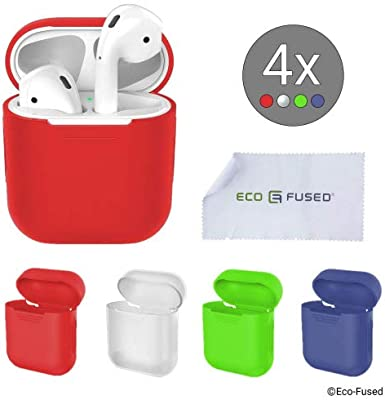 Eco-Fused Cubiertas Protectoras el Estuche Compatible con Apple AirPods – Paquete de 4 (Rojo, Azul, Verde y Transparente) – Silicona – Protege el Estuche de Tus AirPods contra arañazos y Golpes: Amazon.es: Hogar