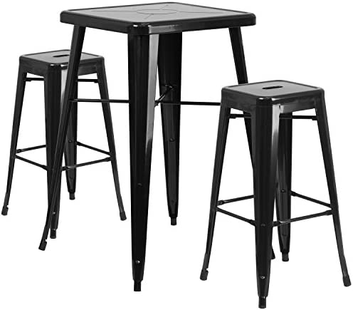 Flash Furniture 23.75 Square Black Metal Indoor-Outdoor Bar Table Set with 2 Square Seat Backless Stools