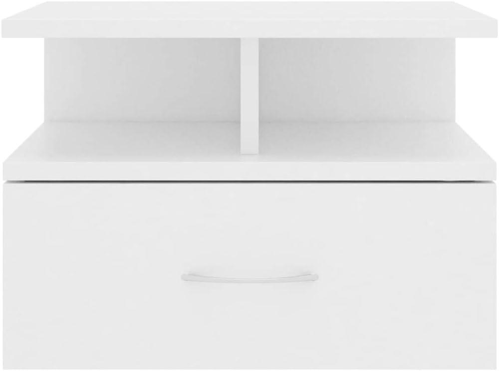 Irfora Comodino Pensile Bianco in Truciolato,Comodino Sospeso,Comodini Bianchi,Mensola Comodino 40x31x27 cm
