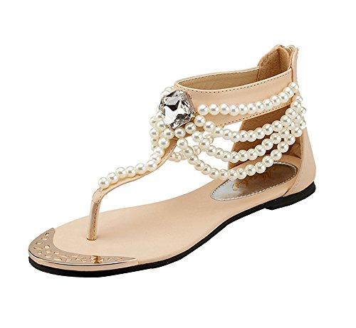 Mujer T-Correa Sandalias De Plana Bohemia Ornamento De Perlas Para Zapatos De Playa Albaricoque