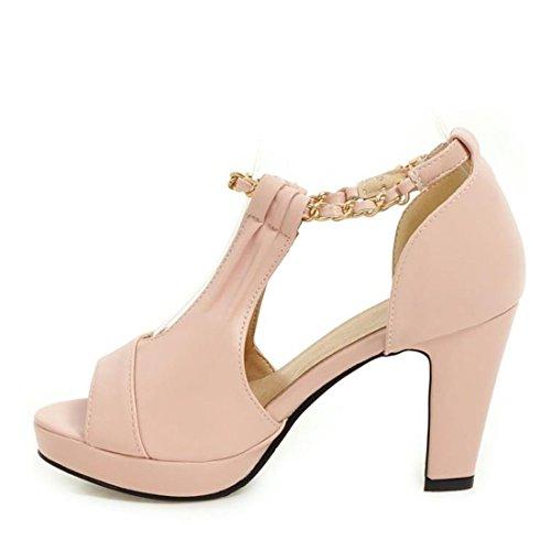 VECJUNIA Ladies Retro Peep Toe Sandals Ankle Strap Roman Shoes Pink