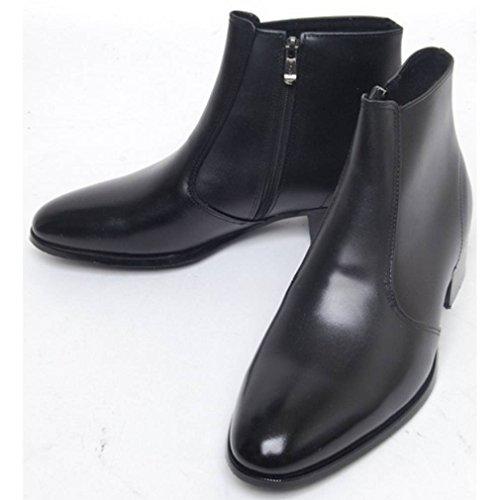 Epicstep Heren Lederen Jurk Formele Business Casual Zip Schoenen Enkellaars Oxfords Loafers Zwart