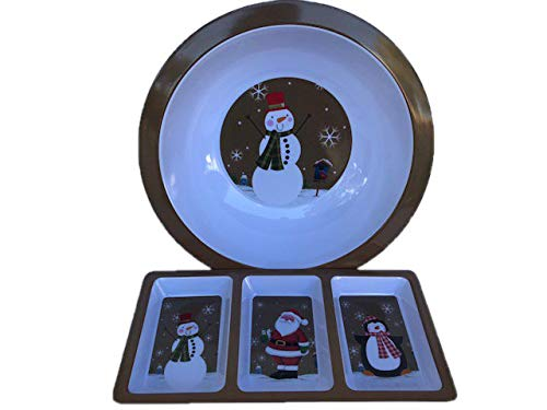 wl & 3-Compartment Plastic Appetizer Serving Tray Set (Santa, Poinsettia, or Snowman) (Snowman) ()