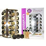Kamenstein 20 Jar Spice Rack & 5-Year Free Premium Spices Refill Service Included
