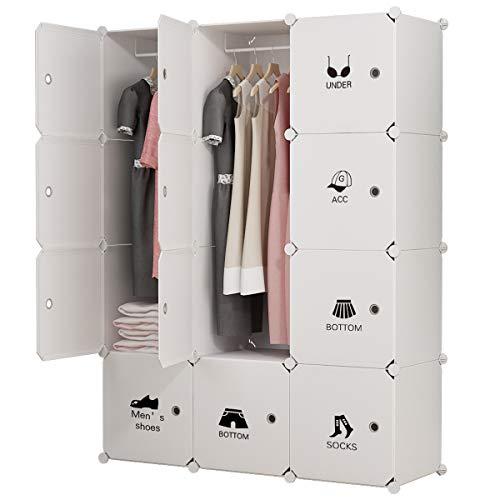 KOUSI Portable Clothes Closet Wardrobe Bedroom Armoire Dresser Cube Storage Organizer, Capacious & Customizable, White, 6 Cubes&2 Hanging Sections