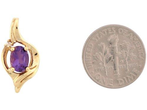 9ct Or Jaune Joli Pendentif De 2.4cm Améthyste Réhaussé D'un Diamant