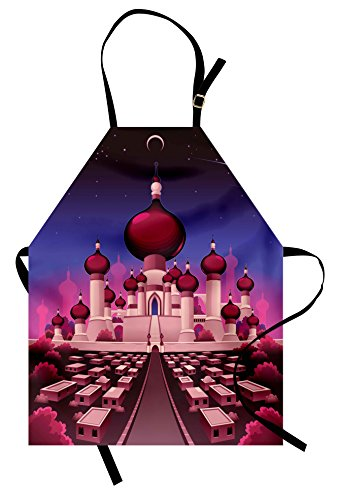 Ambesonne Fantasy Apron, Arabian Castle at Night Oriental Fairy Tale Palace Landscape Illustration, Unisex Kitchen Bib Apron with Adjustable Neck for Cooking Baking Gardening, Indigo Magenta Pink ()