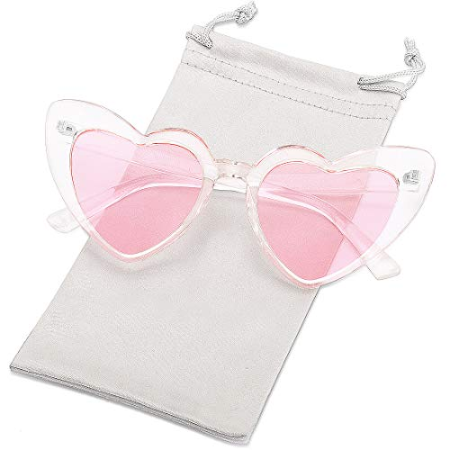 Heart Shaped Sunglasses for Women Girls Ladies Vintage Goggle Mod Sun Glasses Shades (Clear Lens/Pink ()