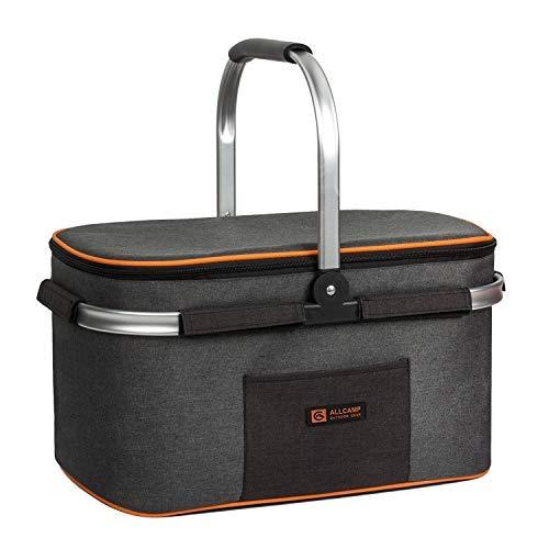 ALLCAMP Insulated Picnic Basket Portable Cooler Bag for Travel, Shopping, Camping (Medium Jet Gray)
