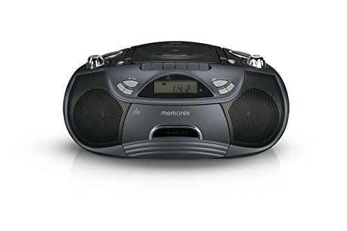 Memorex CD/Cassette Recorder Boombox MP3 AM/FM FlexBeats MP3262 with Aux line in jack - Black (Recorder Mp3 Cd)