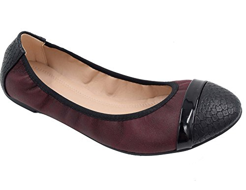 Greatonu Women's Burgundy Comfort Elastic Two Tone Slip-On Ballet Flats Size 6