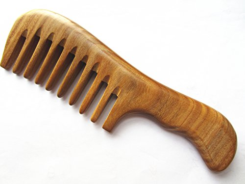(Myhsmooth Gs-2w-wt Wide Tooth Wood Handmade Natural Green Sandalwood No Static Comb with Aromatic Scent for Detangling Curly Hair and Gift -Made of a Whole Piece of Green Sandalwood, Not)