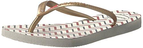 Havaianas Women's Slim Americana Sandal,White,37/38 BR (7-8 M US)