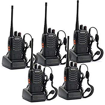 5 Pack BAOFENG BF-888S Portable Handheld 2-way Ham Radio with Original Earpieces + Baofeng Programming Cable (Support WIN7,64 Bit) -Customize 5pack Package