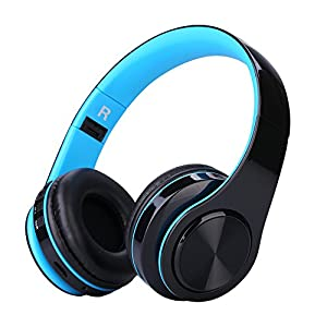 Bluetooth Headphones On ear, Foldable Wireless Stereo Headset With Mic, wired mode and Rechargeable Wireless Headphones for TV/PC/Cell Phones (BLACK/BLUE)
