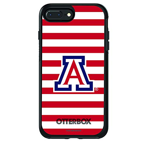 Fan Brander NCAA Black Phone case with Stripes Design, Compatible with Apple iPhone 8 and iPhone 7 with OtterBox Symmetry Series (Arizona Wildcats)