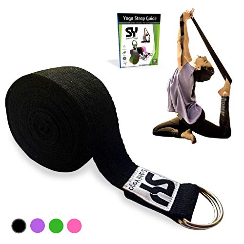 Sukhi Yoga Super Soft Yoga Strap with D-Ring, Perfect for Stretching, Holding...