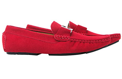Uomo Driving On Silver Shoes Buckle In Slip Red Mocassini Casual Santimon Pelle FOUCq