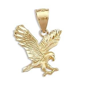 Eagle Pendant 14k Yellow Gold Flying Bird Charm