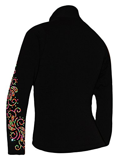 Ice Fire Polartec Figure Skating Jacket with Crystals Swirls Design (Neon Mix, Child Small)