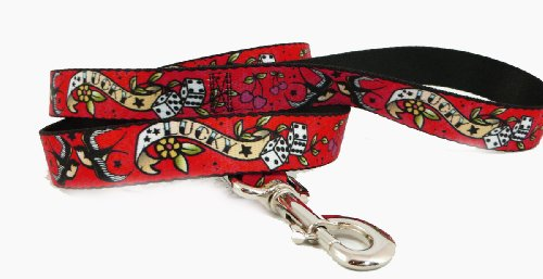 Buckle Down Gambling Lucky Rolling Die Dice Doves Cherries on Red Fun Animal Pet Dog Leash ()