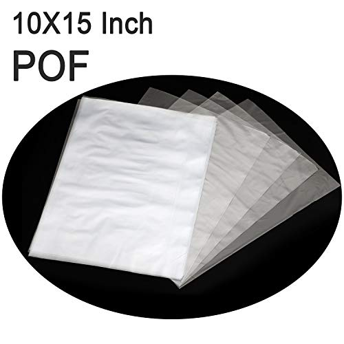 COQOFA POF Heat Shrink Wrap Bags 10x15 inch 100 pcs Clear Non Toxic No Smell Soft Environmental Friendly DIY and Industrial Packaging Plastic Sealer Film with Tiny Air Vent Holes Thicker 120 Gauge