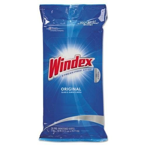 WINDEX CB702325 Glass & Surface Wet Wipe, Cloth, 7 x 10, 28/Pack by Windex by Windex