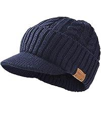 FORBUSITE Men Knitted Visor Beanie Hat for Winter