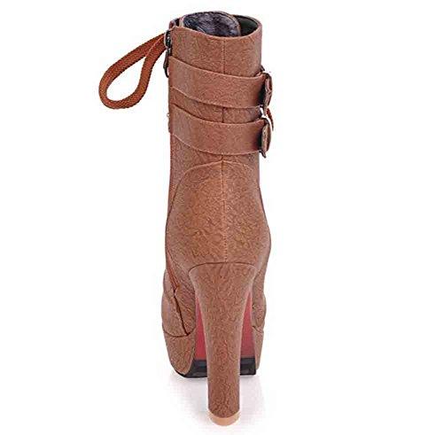 Easemax Kvinnor Mode Nitar Rund Tå Dragkedja Plattform Höga Chunky Klack Boots Brun