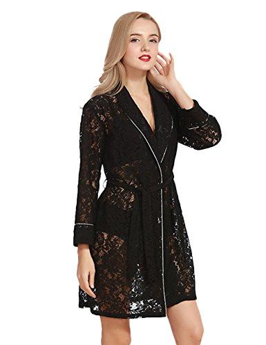 da CUKKE Robe da Accappatoio Donna Damigella Kimono Indumenti Nero d'onore Notte 1rEBrq
