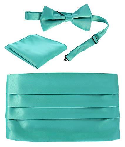 Gioberti Men's Adjustable Satin Cummerbund Set With Formal Bow Tie and Pocket Square, Mint