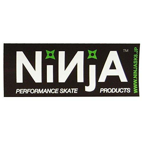 ニンジャ (NINJA) NINJA ステッカー (大12.8cm×5cm) ブラック×ホワイト(GR) スケートボード ステッカー デカール